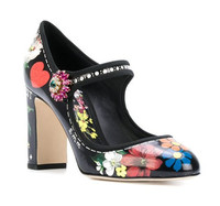 New fashion thick heels flower printed woman shoe Round Toe rhinestones buckle strap high heel pumps dress heels