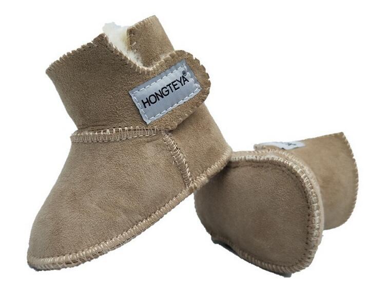 100% Reine Australische Schaffell Handgemachte Baby Bootie Wildleder Winter Super Warm Mit Pelz Baby Jungen Mädchen Stiefel Baby Schuhe