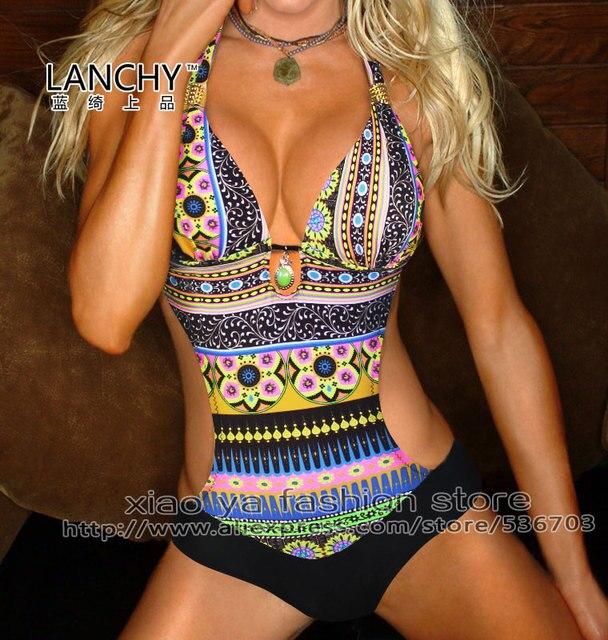 Новый стиль богемия спандекс Lanchy черный голубой дамы девушки женская одежда обувь Mokoniki 1 шт. купальник размер L XL XXL