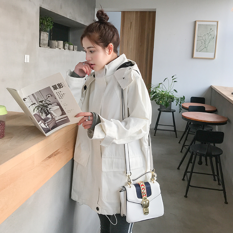 2019 Spring Autumn Casual   Trench   Coat for Women Pleated Zipper Hooded Short Windbreaker Female Loose Plus size Coat Tops v871