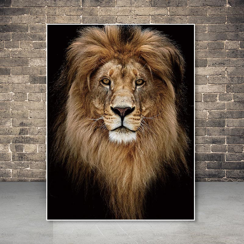 Home Decor Art Wall Animal Roaring Lion King Oil Painting HD Printed On Canvas