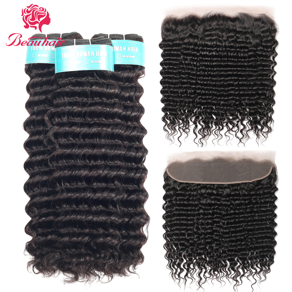 Brazilian Deep Curly Wave Bundles With Frontal Ear To Ear Lace Frontal With Bundles Double Weft Human Hair Bundles With Closure