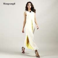 Wangcangli 2018 Summer New Style Europe And America Hot Selling Chiffon Long Open Fork Solid Dresses