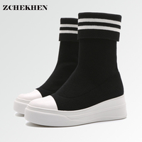Fashion Casual Stripe Knitted Stretch Elastic Socks Ankle Boots Flat Comfortable Thick Bottom White Black Female