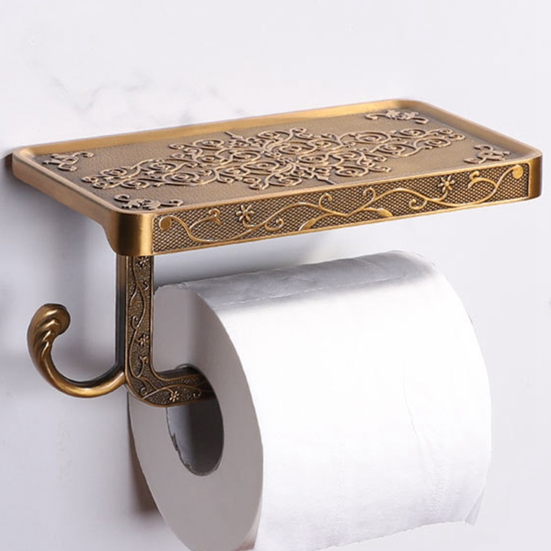 Vintage Decor Style Toilet Paper Holder With Phone Shelf Durable Practical Wall Mounted Hanging Toilet Paper Holder For Bathro