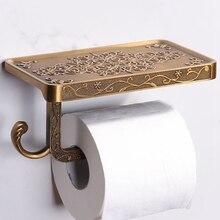 Soporte de papel higiénico estilo decoración Vintage con estante para teléfono duradero práctico soporte de papel higiénico colgante montado en la pared para Baño