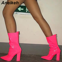 Aneikeh 2019 New Novelty PU Summer Mid Calf Boots Pointed Toe Zip Women's Boots Clear Party Transparent Pink Green Shallow 35 40