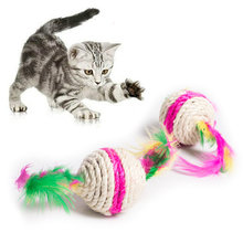 New Pet Cat Sisal Colorful Feather Teaser Ball Toy Cat Kitten Interactive Cat Nip Scratch Ball Cat Supplies Pet Products(China)