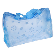 Floral Print Transparent Waterproof Cosmetic Bag Toiletry Bathing Pouch Blue