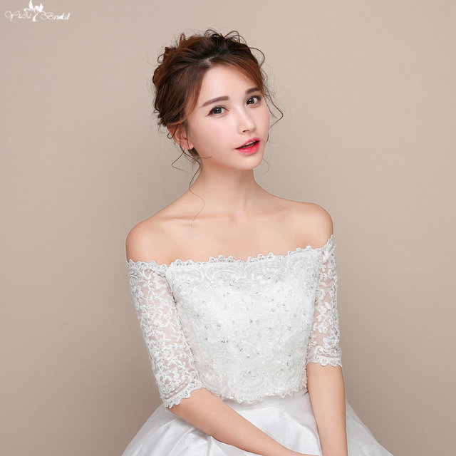 LZP090 Off Shoulder Sequin Bolero Long Sleeve Lace Wedding Boleros