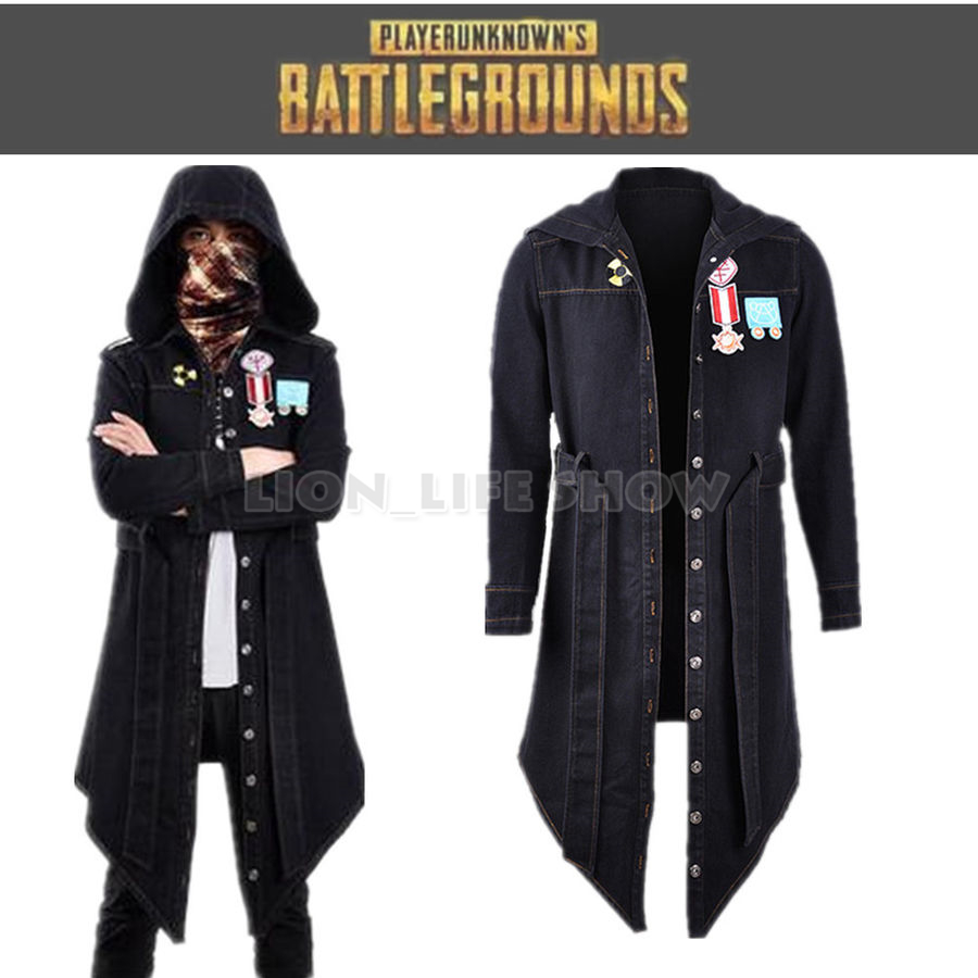 PUBG Playerunknown's Battlegrounds Denim Jacket Coat Trench Cosplay Costume-in Game Costumes from Novelty & Special Use    1