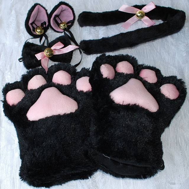 1e1cb5e03 1 Set Women Girls Cat Animals Ears Plush Paw Claw Gloves Tail Ribbon Anime  Cosplay Costumes 5 Colors