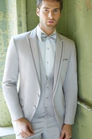 Latest Coat Pant Designs Light Grey Men Wedding Suits Slim Fit 3 Piece Tuxedo Groom Skinny Custom Masculino Jacket+Pant+Vest