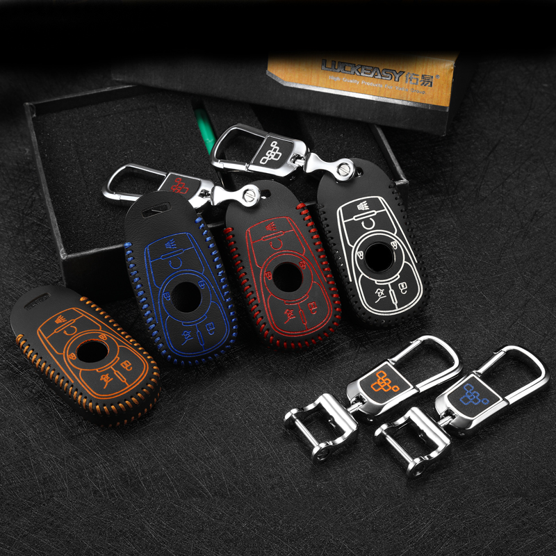 luckeasy leather key cover for buick Lacrosse 2017 car key case 5 button