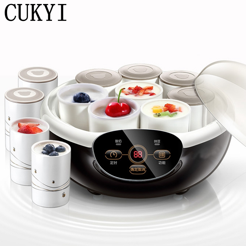CUKYI Full automatic household multifunctional Natto machine for yogurt rice wine machine Natto maker ceramic 8 cups 1L purple yogurt makers rice wine natto machine household fully automatic yogurt glass sub cup liner multifunctional kitchen helper