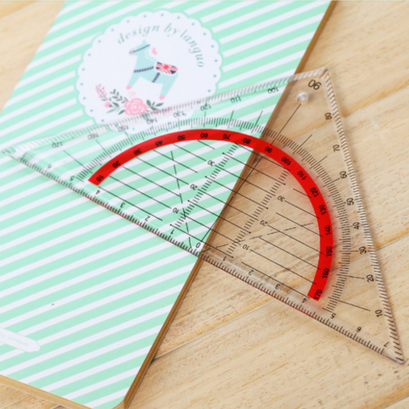 500PC Students Stationery Office Multi-function Set Square Triangle Multifunctional Ruler Protractor Triangle Coordinate