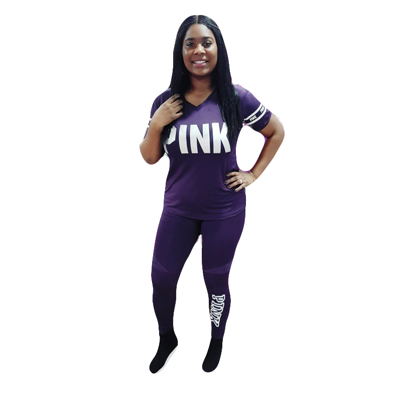 Pink Letter Print Tracksuits Women Two Piece Set  Spring Plus Size T-Shirt Top And Pants  Suits Fashion Bodcon 2 Piece Set