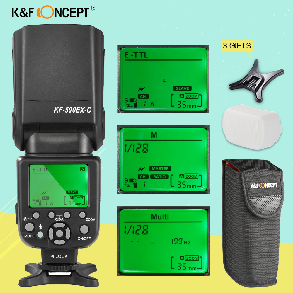 K&F CONCEPT KF590EX-C Wireless TTL Flash Speedlite Master Slave Speedlight For Canon 6d 600d 700d Rebel T5i Camera as YN600EX-RT spash sl 685c gn60 wireless master slave flash light ttl speedlite for nikon lcd screen cameras flash adjustable fill light