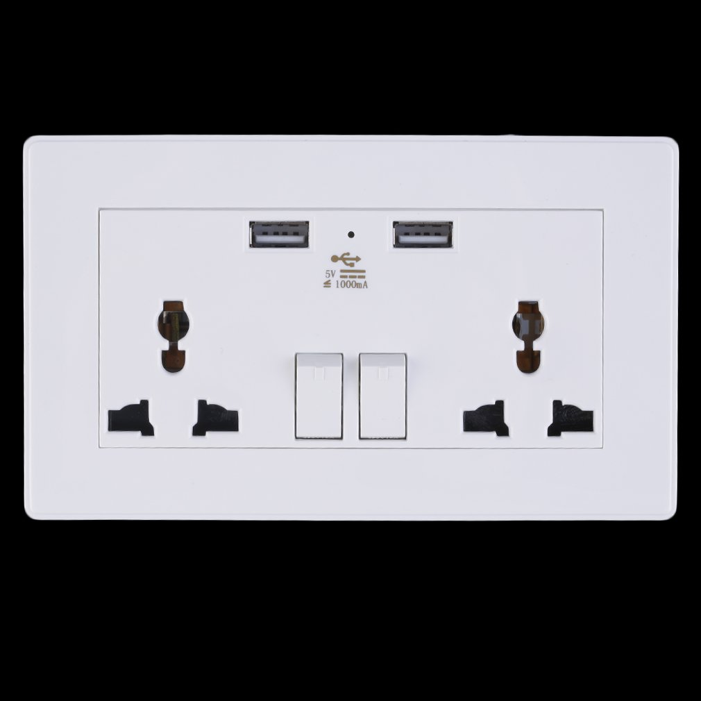 Neue 2 Gang 1000mA Steckdose Dual USB Port Outlets Platte Panel Universal Stecker für home P25