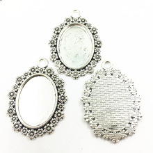 10Pcs Silver Tone Necklace Pendant Setting Cameo Base Tray Bezel Blank Flower Lace Oval Metal Fit 18x25mm Cabochon Jewelry 4cm 20pcs 12mm heart inner size stainless steel material simple style cabochon base cameo setting charms pendant tray t7 41
