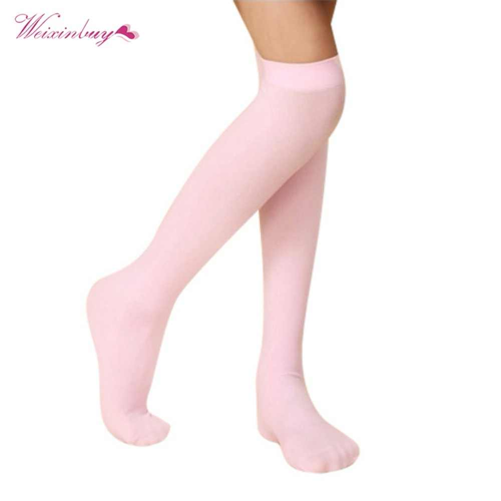 56a35142f ... Kids Girl Lace Knee High Socks Young Girls Summer Thin Solid Breathable  School Boot Long Over ...