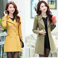 Jacket 2016 women long section of fiber Slim stylish double-breasted coat windbreaker 0838