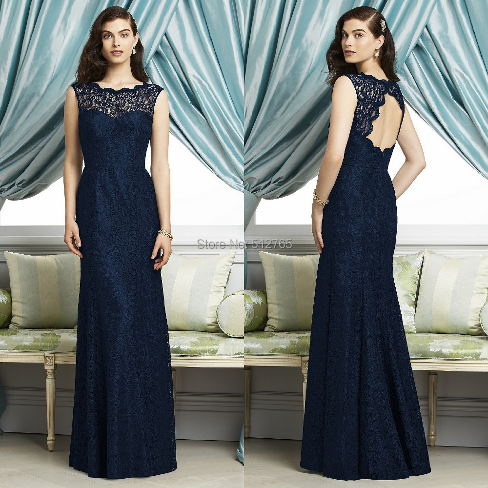 Vogue 2015 navy blue lace overlaid bridesmaid dress jewel neck vogue 2015 navy blue lace overlaid bridesmaid dress jewel neck keyhole back sleeveless full lengt robe de soiree nb1149 in bridesmaid dresses from weddings ombrellifo Choice Image