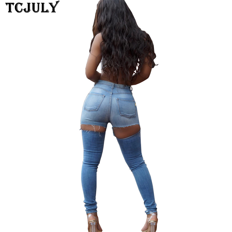 TCJULY Stylish Denim Pants With Holes In The Back Bleached Ripped Skinny Blue Jeans Streetwear Casual Push Up Broken Jeans Woman