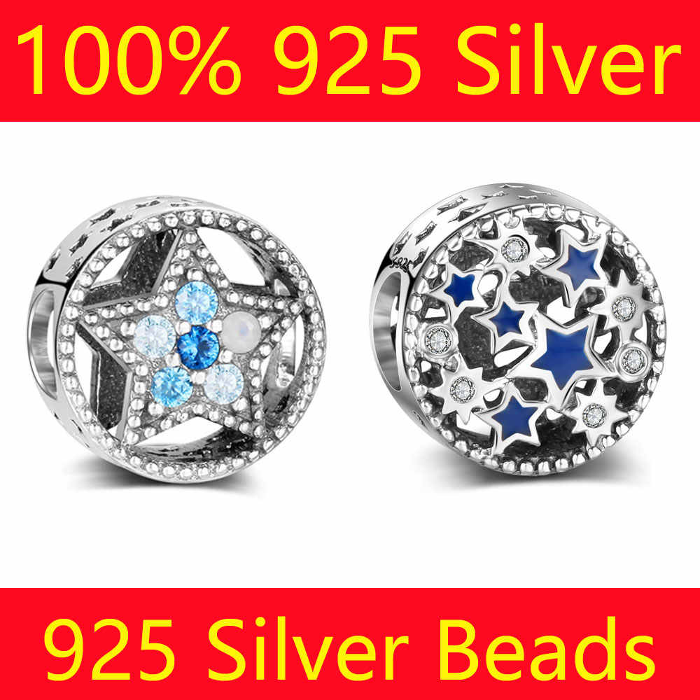 100% S925 Sterling Silver Star Zodiac Beads Vnistar Wholesale Starry Night Stars DIY 925 Silver European Bead Charms