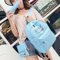 3Pcs Women Backpack Girl Smile Backpack Travel School Bags Satchel