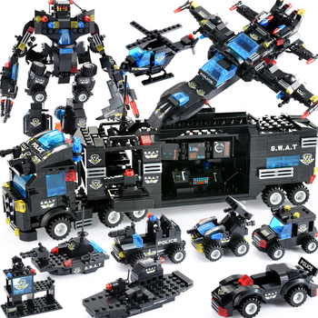 цена на 725PCS City Police Series Blocks City DIY 8 in 1 Vehicle Car Helicopter Building Blocks Construction Bricks Toy For Children
