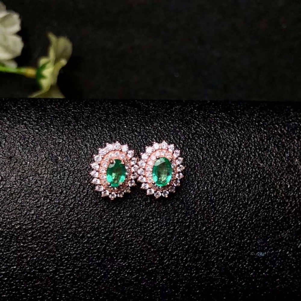 SHILOVEM 925 sterling silver Natural Emerald stud earrings classic fine Jewelry women wedding women wholesale yge040601agml shilovem 925 sterling silver emerald stud earrings classic fine jewelry women wedding women gift wholesale jce040601agml