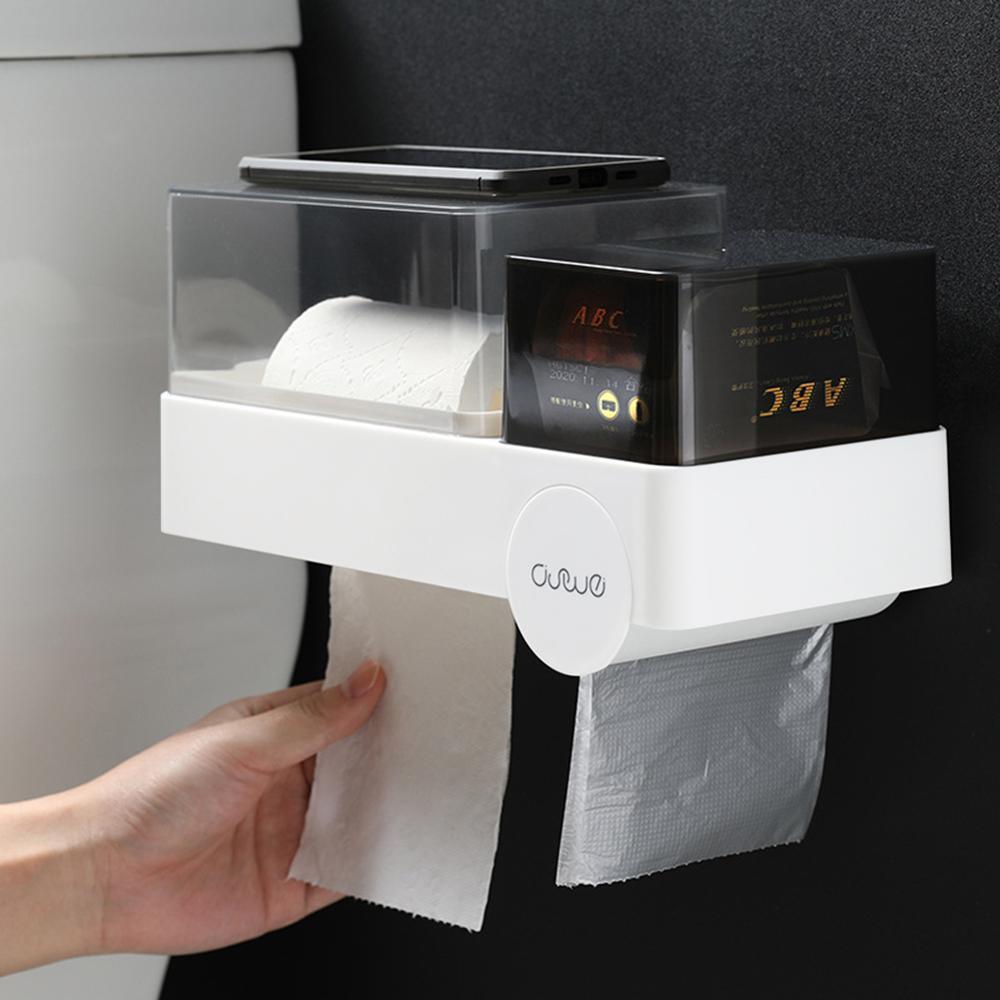 Waterproof Bathroom Toilet Paper Holder Tissue Box Garbage Bag Storage Box Bathroom Shelf Multifunctional Toilet Paper Rack