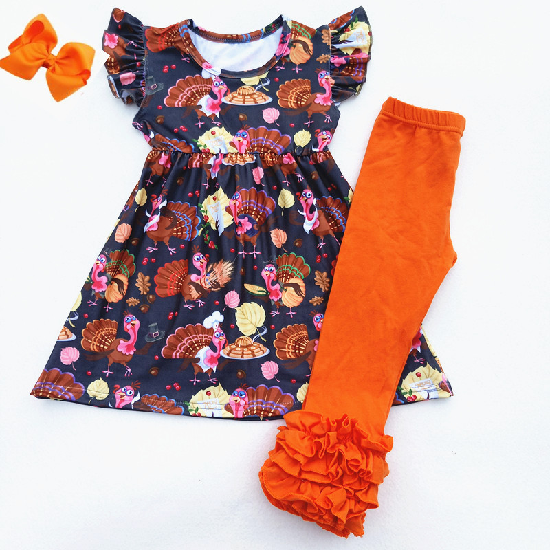 купить Fall/Winter Baby girls Thanksgiving Brown Pink Turkey Flower Pearl Outfits Children Thanksgiving Boutique Ruffle Set Match Bow недорого