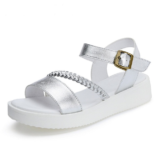 2017 Summer Gladiator Sandals Platform Silver Shoes Woman Casual Creepers Slip On Flats Weave Women Shoes ZQ3762