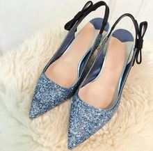 New Arrivals Blue Glitter Pointed Toe Pumps Women Shoes Bowtie Low Heels Cut-out Sandals Hollow Wedding Bride