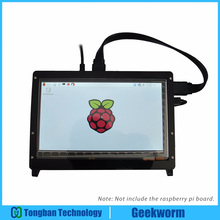 Geekworm 라즈베리 파이 4 모델 B/ 3B 7 인치 1024*600 TFT 용량 성 터치 스크린 + 아크릴 스탠드 + HDMI 케이블 + USB 케이블 키트
