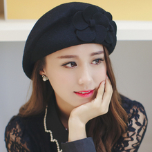Han edition lovely fashion double beret wool hat female flower