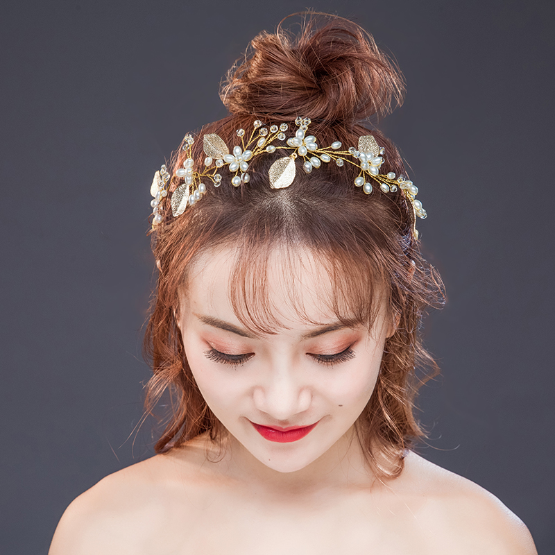 Gold Leaf Simulated-Pearl Girl Tiara Jewelry Transparant Manmade Crystal Beads Hair accessories Party Wedding Gold ribbon