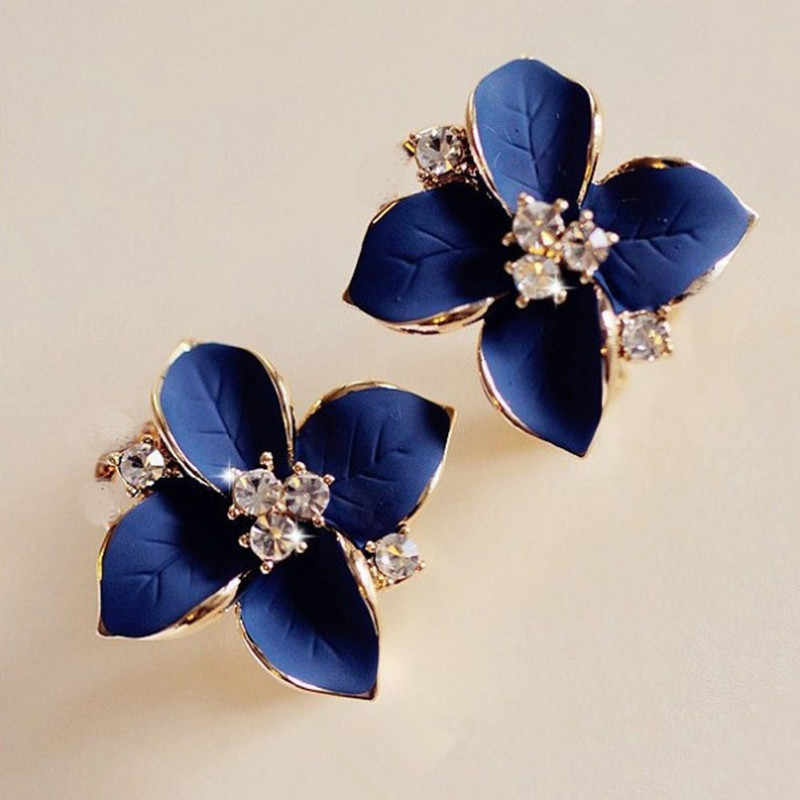 Crystal Stud Earrings Boucle d'oreille Femme Fashion Flower Earrings for Women Gold Bijoux Jewelry Brincos Pendientes Mujer E152