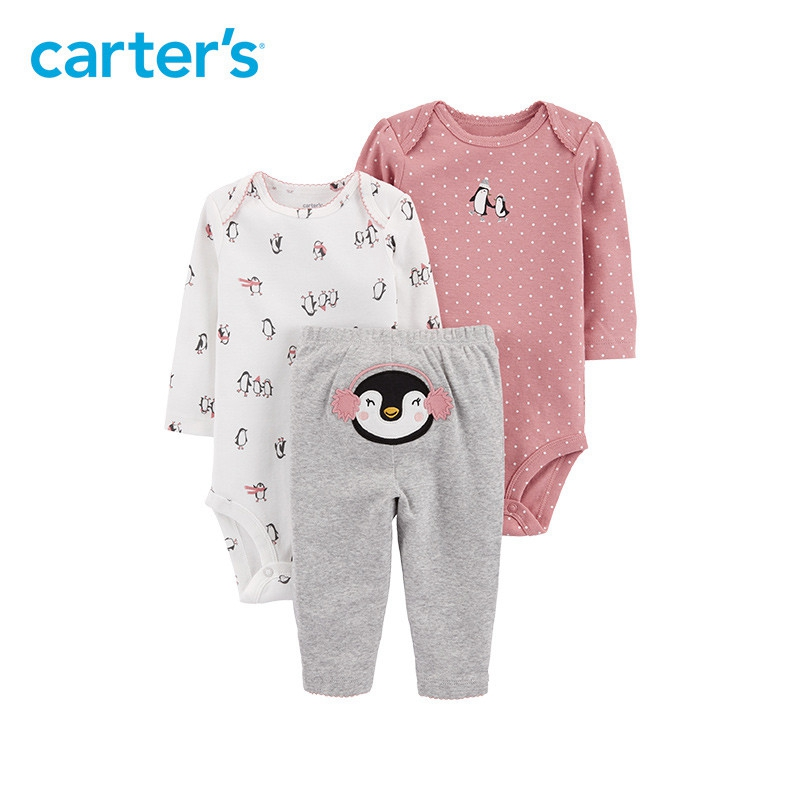 3pcs babysoft cotton penguin print Polka Dot clothing Set Carter's baby boy spring autumn clothing 126H774