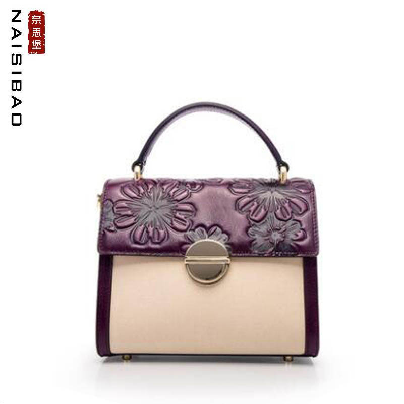 NAiSIBAO 2019 New  women genuine Leather bag Linen with cowhide high quality fashion women leather shoulder bag women handbagsNAiSIBAO 2019 New  women genuine Leather bag Linen with cowhide high quality fashion women leather shoulder bag women handbags