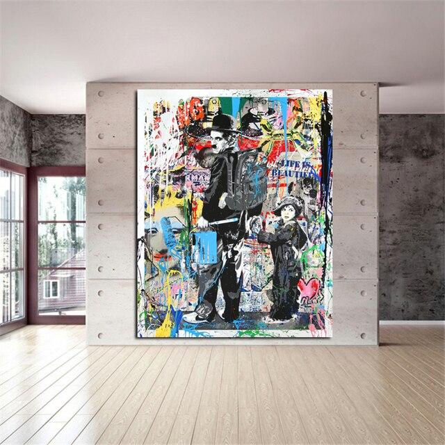 Pta156 Charlie Chaplin Pintura Graffiti Art Prints Óleo Moderna Da Lona Pintura Moderna Pintura de Parede Artes e Impressões Vivendo Decoração do Quarto