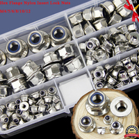 Stainless Steel DIN 6926 Hex Flange Nylon Insert Lock Nuts Nylon Insert Self Locking Nuts Locknuts Assortme M5 M6 M8 M10 M12