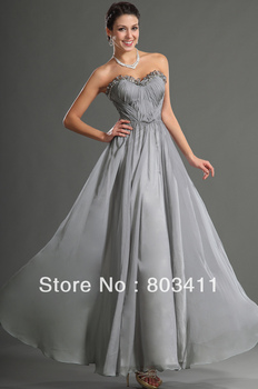 Free Shipping New Design Lovely Strapless Sweetheart Neckline Chiffon Evening Dress