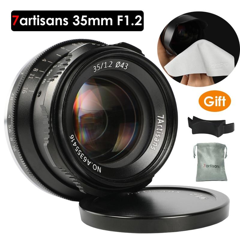 7 artisans 35mm F1.2 Premier Objectif pour Sony e-mount/pour Fuji XF APS-C Mirrorless Caméra Manuel mise au point Fixe Lentille A6500 A6300 X-A1