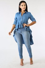Casual Double Ruffle Hem Denim Long Blouse Asymmetric Blue Turn Down Collar Buttons Full Sleeve Jeans Shirts Plus Size Blouses недорого