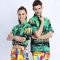 New TOP Quality Cotton Beach Shirt Hawaiian Shirt Men Home Casual Short Sleeve Mens Floral Print Shirt Loose Fashion  Camisas