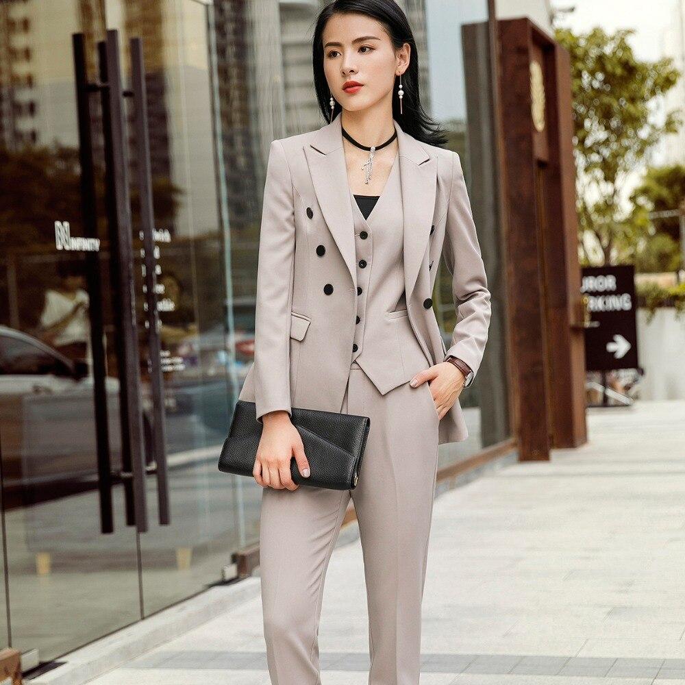Vrouwen Suits Vrouwelijke Broek Past Office Lady Formele Zakelijke Set Uniform Ontwerpen Stijl Werkkleding Vest Blazer en Broek 3 delige Set-in Broekpak van Dames Kleding op  Groep 2