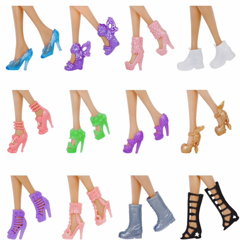 12 Pairs / Lot Doll Shoes Mixed Style Cute Colorful High Heels Shoes Fashion Assorted Boots For Barbie Doll Accessories Kids Toy
